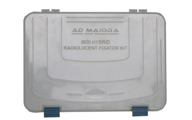 Complete autoclavable container for mini hybrid kit radiolucent